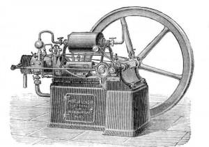 A máquina a vapor de James Watt.